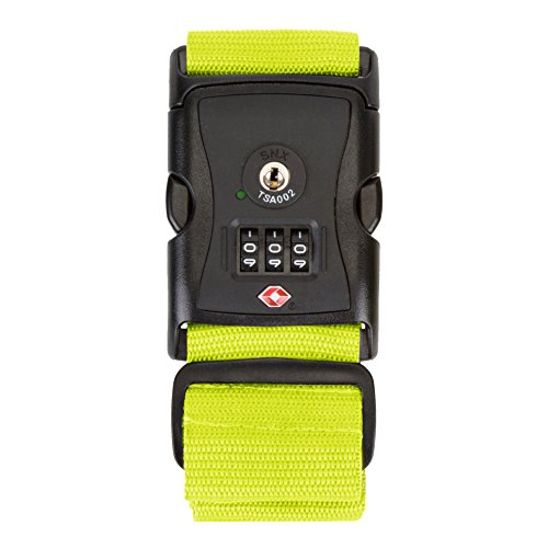 Travelon Tsa Locking Luggage Strap, Lime - Tsa Locking Luggage Strap