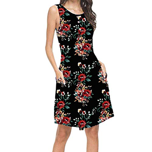 Women's Casual Mini Dress,Summer Bohe Pocket Sleeveless Beach Dress Changeshopping Black