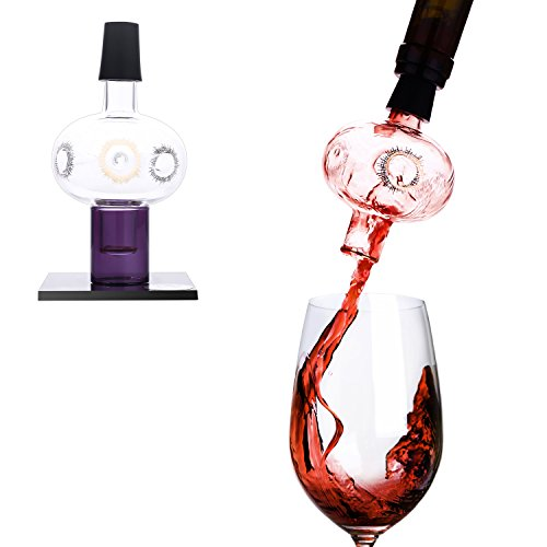 Lovinpro Wine Aerator Pourer Premium Glass Bottle-top Aerating Pourer and Decanter Spout Includes Dry Stand Gold Pattern by Lovinpro