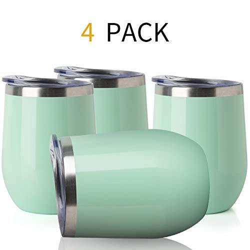 ONEB Stainless Steel Wine Tumbler with Lid, 12 OZ | Double Wall Vacuum Insulated Travel Tumbler Cup for Coffee, Wine, Cocktails, Ice Cream Cup With Lid (Apple green, 12OZ-4pack)