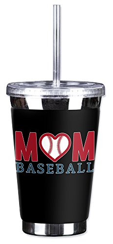 Mugzie 16 Ounce To Go Tumbler with Insulated Wetsuit Cover - Baseball Mom (Art Plates Baseballs)