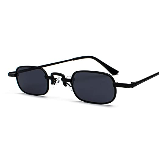 76991f0679 Retro Rectangle Sunglasses Tiny Women Metal Frame Narrow Glasses Sun Men  Vintage (full black)