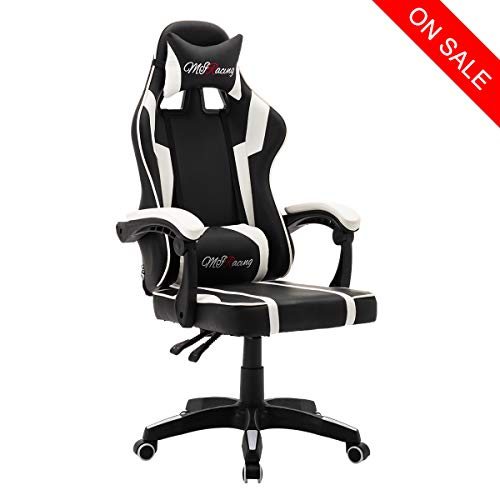 MIRacing Gaming Chair Reclining Memory Foam Racing Computer Chair Ergonomic High-Back Desk Office Chair with Headrest and Lumbar Support, White