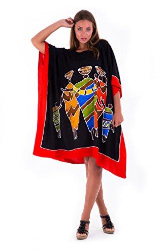 SHU-SHI Womens Short Caftan Poncho Tribal Tunic Swimwear Cover Up Black ()
