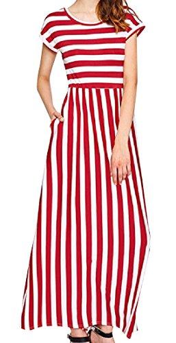Red Elegant Wine Waist Short A Dress Coolred Women Sleeve Pinstripe High Line pqPcFU
