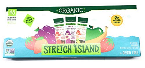 Organic Stretch Island Tropical Strawberry Grape Fruit Strips Variety Pack, 48 Total Count, 16 pouches of each of the 3 flavors,0g Added Sugar ()