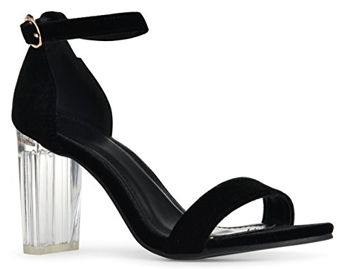 With Strap Open Chunky Women's Block High Ankle Clear Heel Black Heel Velvet Sandals Toe Covered rqF8xwEd87