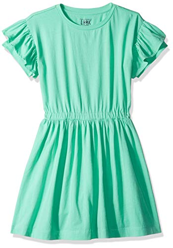(LOOK by Crewcuts Girls' Ruffle Sleeve Dress, Green, XXX-Large (16) )