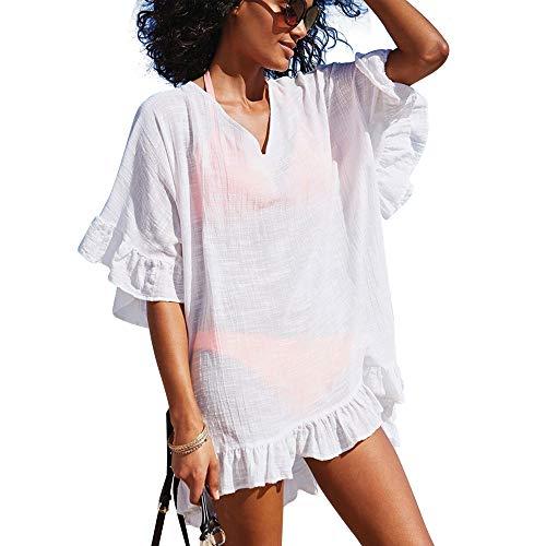 OMSJ Beach Dresses, Swimsuit Cover ups Womens Bikini Loose Tunic (XL, White)