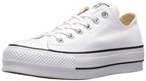 Converse Women's Lift Canvas Low Top Sneaker, White/Black/White, 7.5 M US