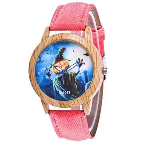 (ManxiVoo Luxury Women Men Hallowmas Pumpkin Pattern Watches Timber Quartz Wrist Watch (Pink))