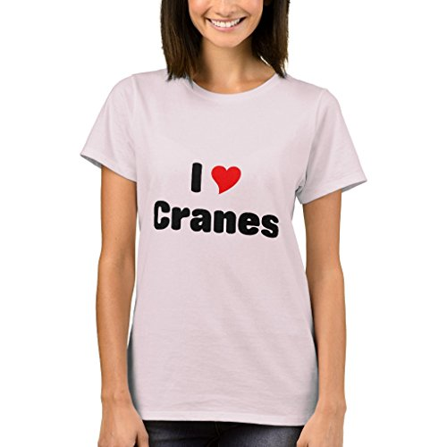 Zazzle Women's Basic T-Shirt, I Love Cranes Baby Bodysuit, Pale Pink L
