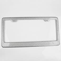 Modifystreet 1 Piece JDM Silver Real Carbon Fiber License Plate Frame Cover for Front or Rear