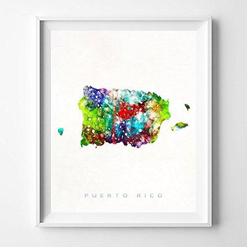 Amazon.com: Puerto Rico Watercolor Map Home Decor Wall Art Poster ...