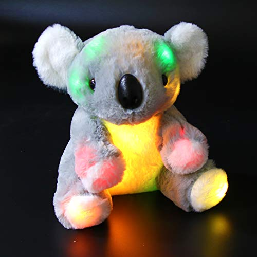Bstaofy LED Gray Koala Bear Stuffed Animal Glow Soft Adorable Floppy Colorful Plush Toy Gift for Kids Toddlers on Birthday Christmas Festival Occasions, 9.5''