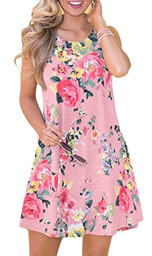 SimpleFun Women's Summer Casual Sleeveless Floral Printed Swing Dress Sundress with Pockets(Pink Flowers,M)