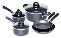Gibson Generra Collection 8-Piece Cookware Set, Black