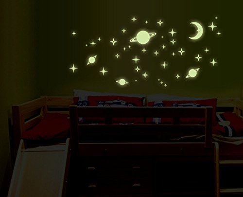 Saturn And Stars Fluorescent Dot Glow In The Dark Stickers