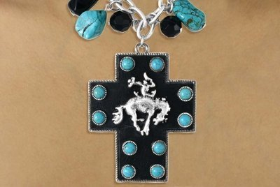 [Genuine Leather Backed Bucking Bronco & Turquoise Color Stone Cross Necklace & Earring Set] (Gentlemen Broncos Costume)