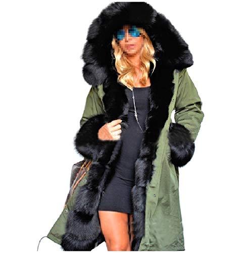 Army Maxi Green Drawstring Winter Jackets Midi MogogoWomen and Thickened Pea Coat Twqnzfa1pf