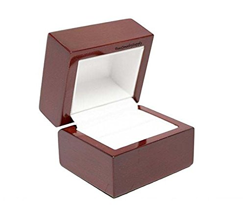 Leather Ring Box - Gorgeous Premium Wooden Ring Box with Metal Hinge