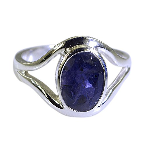 Natural Iolite Ring 925 Sterling Silver Oval Face Chakra Healing Handmade Jewelry Size - Face Shaped Men Pear