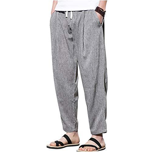 [해외]SANCANYI-RIBAN 원숭이 엘 팬츠 마 바지 와이드 팬츠 요가 야외 산책 나들이 야외 하이킹 남성 린 넨 팬츠 / SANCANYI-RIBAN Salull Pants Hemp Pants Wide Pants Yoga Outdoor Walk Excursion Outdoor Hiking Men`s Linen Pants