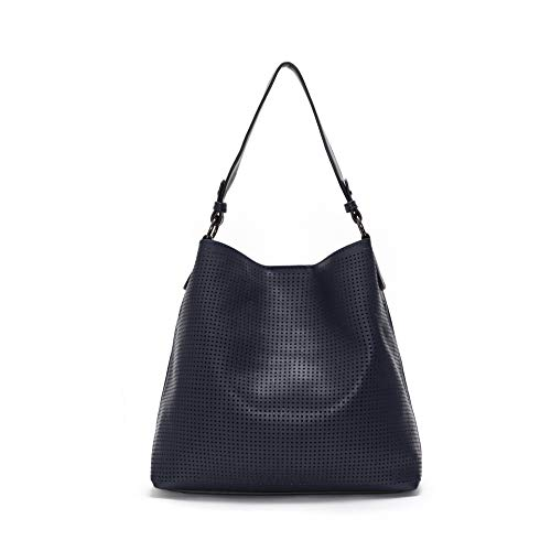 (Laser Cut Vegan Leather Designer Tote Hand-bag (Navy Blue))