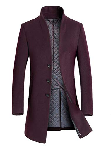 Cashmere Walking Coat - Mordenmiss Men's French Woolen Coat Business Down Jacket Trench Topcoat Fleece Burgundy S