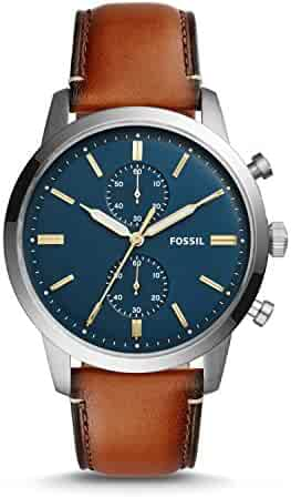 Fossil Men's Townsman Quartz Stainless Steel and Leather Chronograph Watch, Color: Brown; Dial color - blue-Tone (Model: FS5279)
