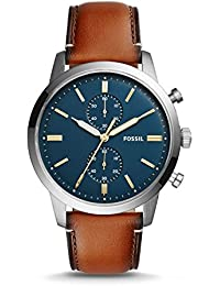 Men's Townsman Quartz Stainless Steel and Leather Chronograph Watch, Color: Brown; Dial color - blue-Tone (Model: FS5279)