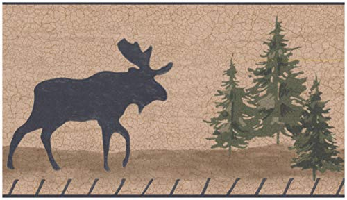 Wallpaper Border - Moose Bear Cracked Light Brown Wall Border Retro Design, Prepasted Roll 15 ft. x 7 in.