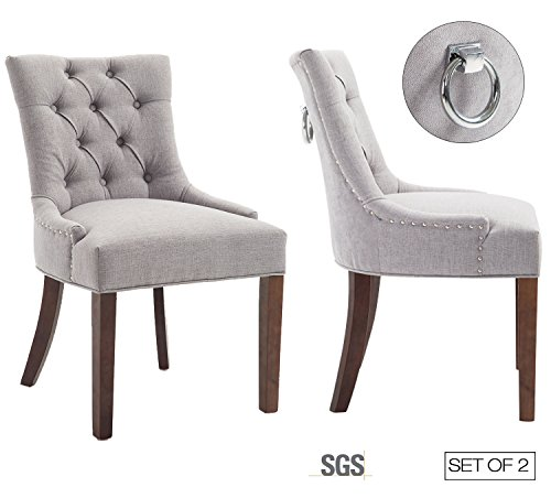 - Set of 2 Modern Tufted Parsons Chair with Solid Wood Legs ZXBSWELE Padded Dining Chair with Nailhead for Dining Room, Living Room, Fabric, Grey