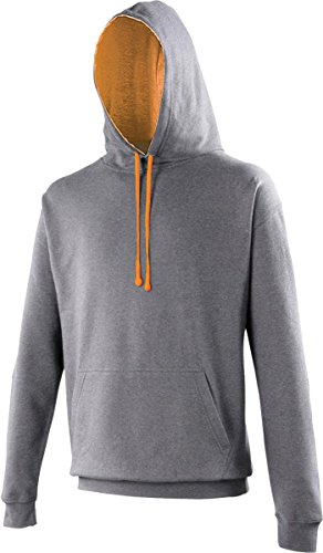 AWDis Unisex Erwachsene Oberbekleidung Winter Kapuzenpulli Zieh Über Uni Kapuzenpulli - Holzkohle/ Orange Crush, XXL