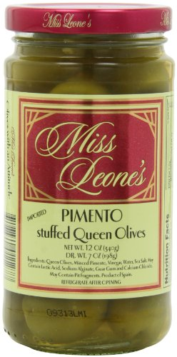 Miss Leone's Stuffed Queen Olives, Pimento, 12-Ounce Jars (Pack of 3)