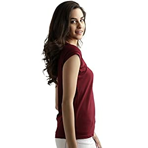 Miss Chase Women's Maroon Super Soft V-Neck Short Sleeves Cotton Solid Regular Fit T-Shirt