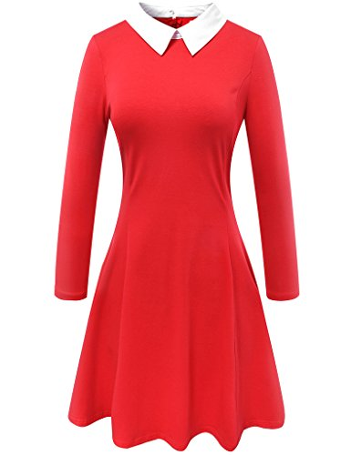 Aphratti Women's Long Sleeve Casual Peter Pan Collar Flare Dress Red Large -