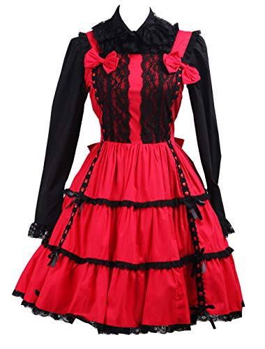 (Antaina Red and Black Cotton Bow Ruffle Gothic Punk Sweet Lolita Cosplay Dress,XXL)