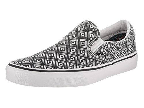 Vans Unisex Classic Slip-On (TM Geo) Black/True White Skate Shoe 7 Men US / 8.5 Women US