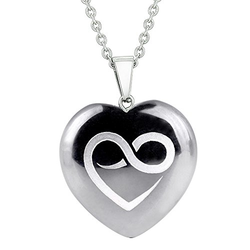 (Amulet Infinity Eternity Heart Love Power Protection Energy Hematite Puffy Heart Pendant 22 Inch Necklace)