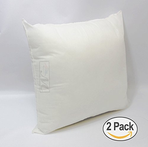 [SET OF 2] 18'W X 18'L Mybecca Hypoallergenic Pillow Insert White Polyester, Made in USA