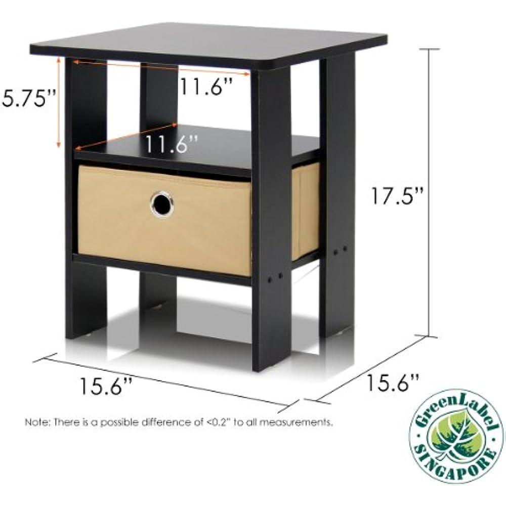Espresso Furinno 2-11157EX Mesa auxiliar de noche para dormitorio Set Petite