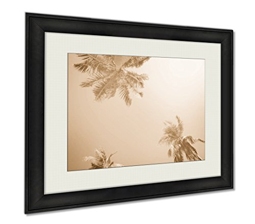 Ashley Framed Prints Tropical Palm Trees Sun Light Holiday, Wall Art Home Decoration, Sepia, 26x30 (frame size), AG6403987 by Ashley Framed Prints