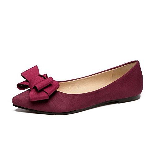 Damen Quadratisch Zehe Ziehen Auf Flache Schuhe mit Metallstück, Schwarz-Metallisch, 37 AalarDom