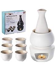 Lyty Sake set och koppar med värmare, traditionellt porslin japansk keramik het saki dryck-kit, 7-delar inkluderar 1 spis 1 värmningsskål 1 sakeflaska 4 koppar