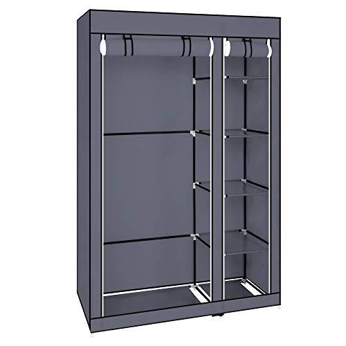Leoneva Portable Clothes Closet Wardrobe with Canvas Cover Shelf Hanging Rod Large Capacity Closet Storage Organizer - Armoire Canvas