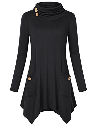 Hibelle Swing Tops for Women, Ladies Stand Collar Flattering Stretchy Soft Irregular Hem T Shirt Trapeze Blouses with Pockets Black L