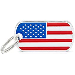 Jzenzero Zinc Alloy Dog Tag American Flag Pattern Puppy ID Tag Pet Tags for Dogs Cats Kitten Collar Tag