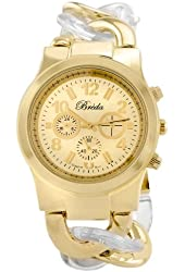 Breda Women's 2331-Cleargold Locklin Clear and Gold Circular Links Watch