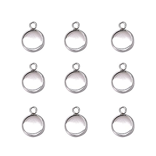 (Stainless Steel Bezel Pendant Trays Cabochon Settings Trays Pendant Blanks 10x10mm 50PCS)